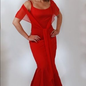 Dresses & Skirts - Red mermaid gown size 4 price $75